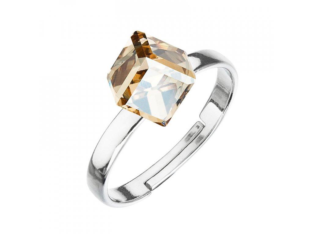 Stříbrný prsten s krystaly zlatá kostička 35011.5