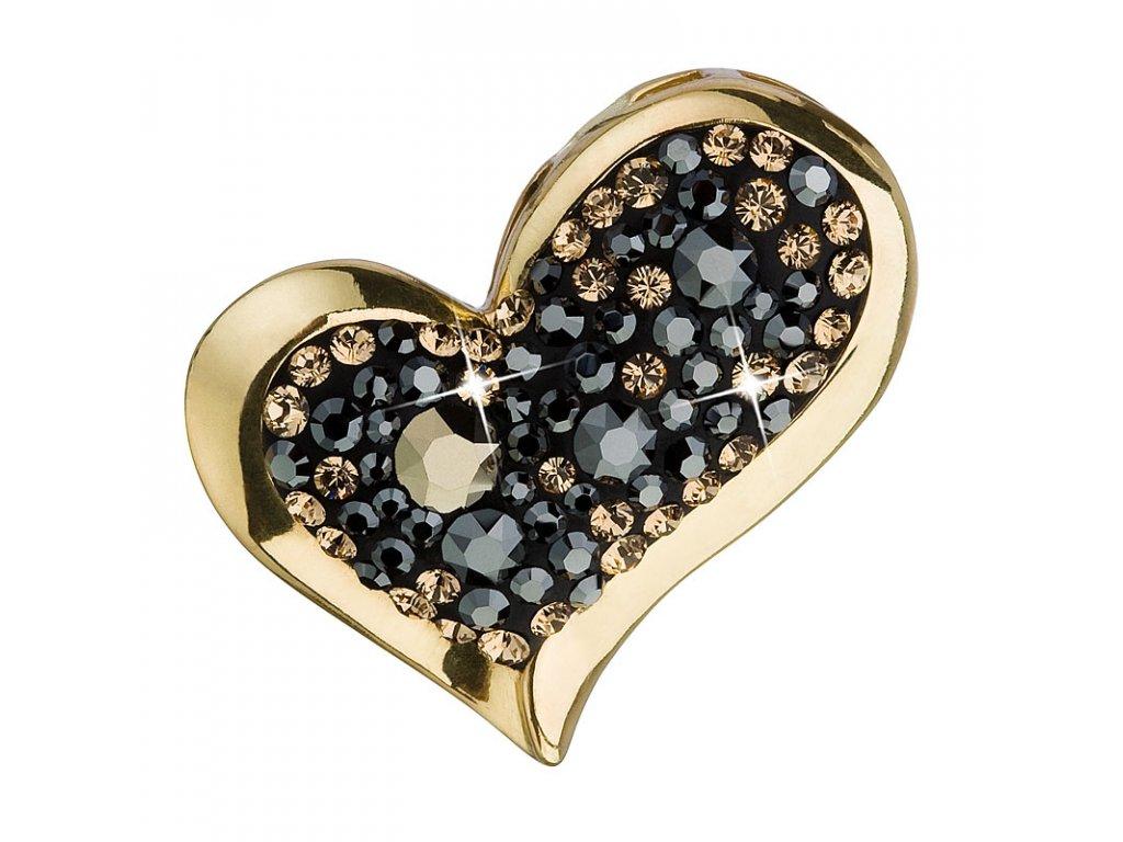 Stříbrný přívěsek s krystaly mix barev srdce 34184.4 colorado