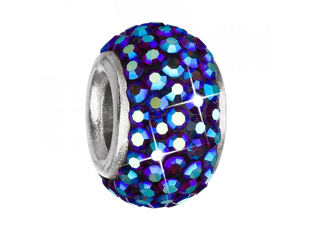 Stříbrný přívěsek s krystaly modrý kulatý 734083.5