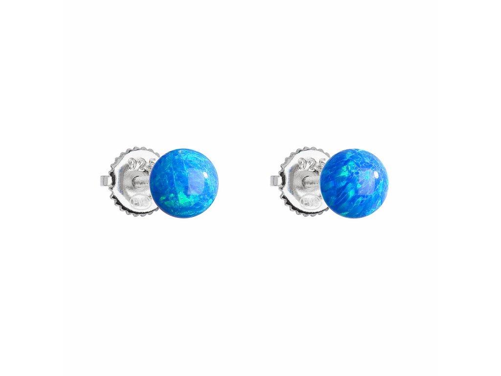 Stříbrné náušnice pecky se syntetickým opálem modré kulaté 11246.3