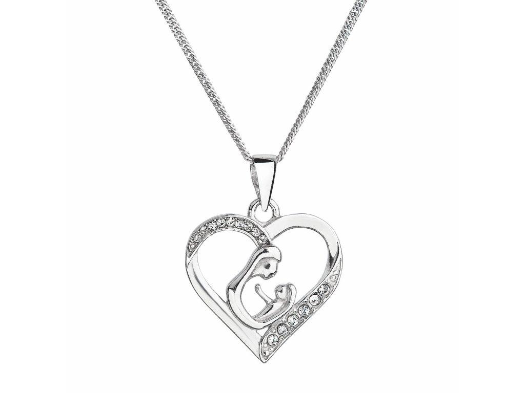 Stříbrný náhrdelník matka a dítě se Swarovski krystaly bílý 32073.1