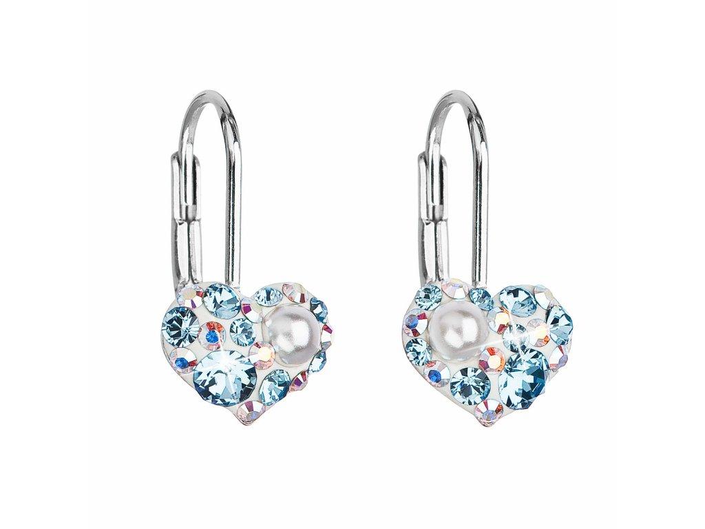 Stříbrné náušnice visací s krystaly Swarovski modré srdce 31125.9