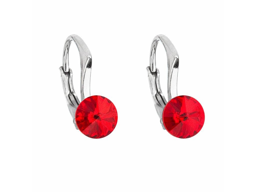Stříbrné náušnice visací s krystaly Swarovski červené kulaté 31230.3
