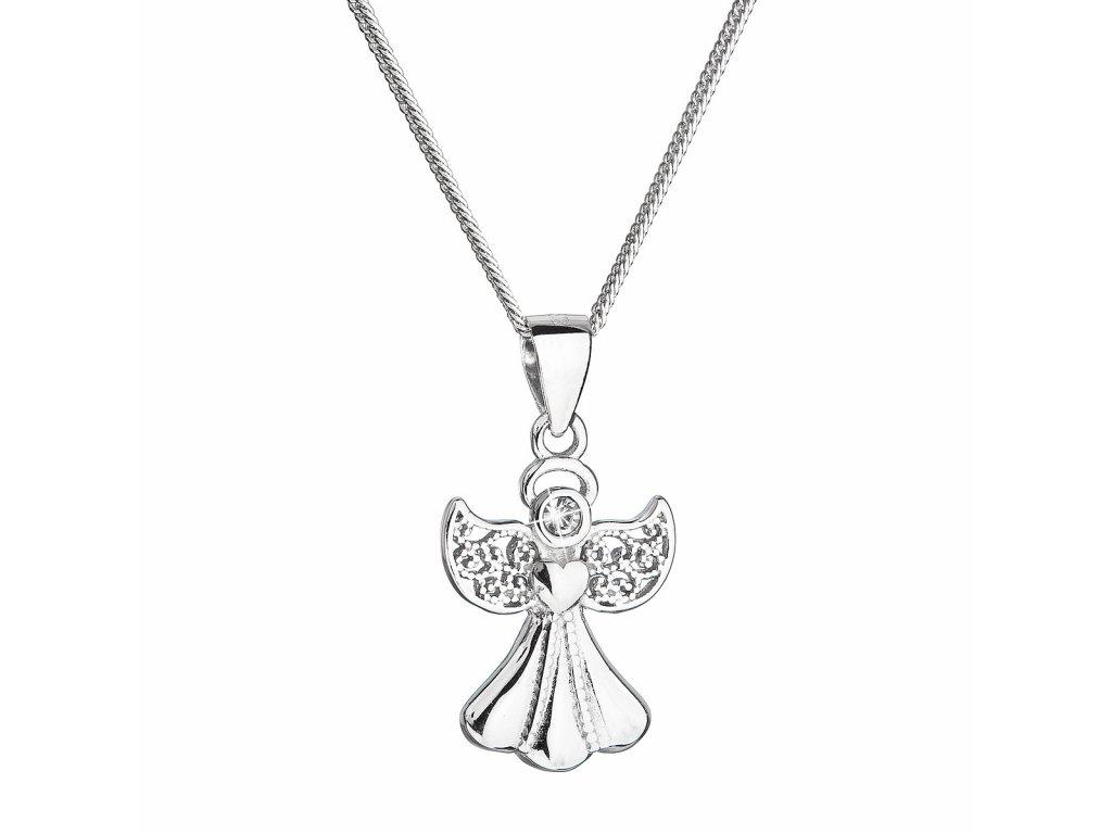 Stříbrný náhrdelník anděl se Swarovski krystaly bílý 32077.1
