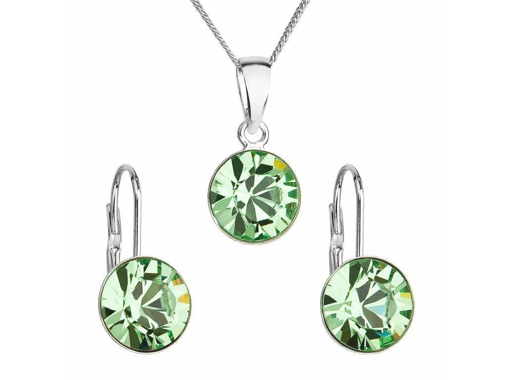 Sada šperků s krystaly Swarovski náušnice, řetízek a přívěsek zelené kulaté 39140.3 peridot