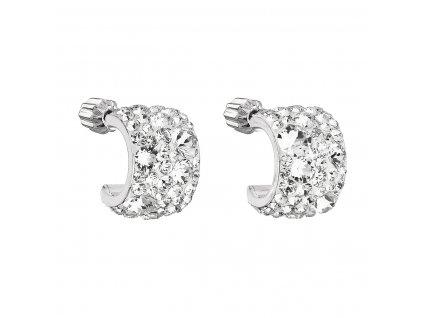 Stříbrné náušnice visací s krystaly Swarovski bílý půlkruh 31280.1
