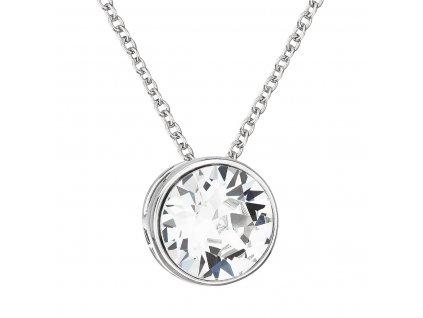 Stříbrný náhrdelník s krystalem Swarovski bílý kulatý 32069.1