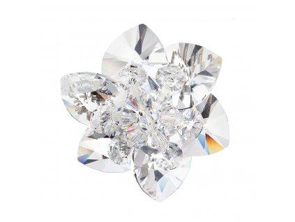 Brož bižuterie se Swarovski krystaly bílá kytička 78002.1