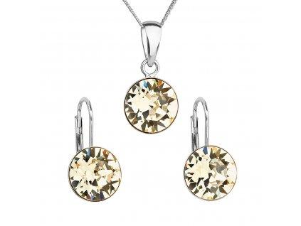 Sada šperků s krystaly Swarovski náušnice, řetízek a přívěsek žluté kulaté 39140.3