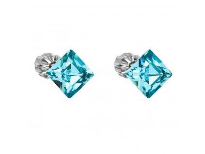 Stříbrné náušnice pecka s krystaly Swarovski modrý čtverec 31065.3 light turquoise