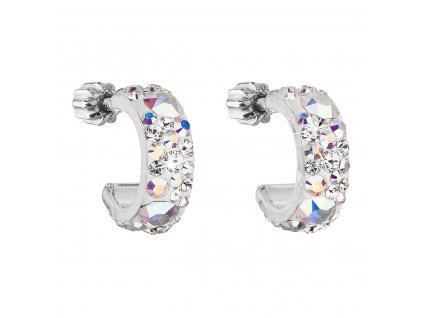 Stříbrné náušnice kruhy s krystaly Swarovski ab efekt půlkruh 31118.2