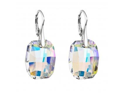 Stříbrné náušnice visací s krystaly Swarovski ab efekt obdélník 31297.2