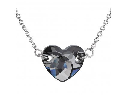 Stříbrný náhrdelník s krystaly Swarovski šedé srdce 32020.5