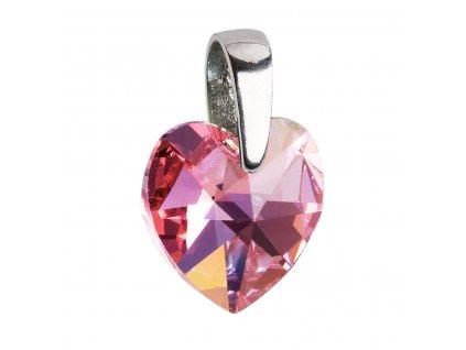 Stříbrný přívěsek s krystaly Swarovski AB efekt růžové srdce 34003.4