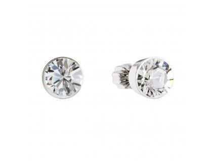 Stříbrné náušnice pecka s krystaly Swarovski bílé kulaté 31113.1