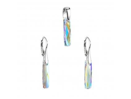 Sada šperků s krystaly Swarovski náušnice a přívěsek AB efekt bílý hranol 39022.2
