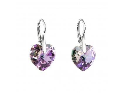 Stříbrné náušnice visací s krystaly Swarovski fialové srdce 31012.5