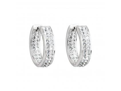 Stříbrné náušnice kruhy s krystaly Swarovski bílý kruh 31120.1