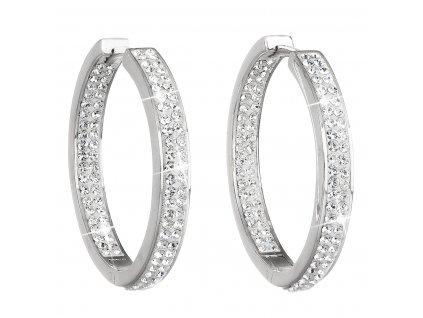 Stříbrné náušnice kruhy s krystaly Swarovski bílý kruh 31122.1