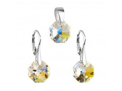 Sada šperků s krystaly Swarovski náušnice a přívěsek AB efekt kulaté 39055.2