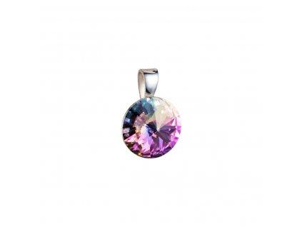 Stříbrný přívěsek s krystaly Swarovski fialový kulatý-rivoli 34112.5