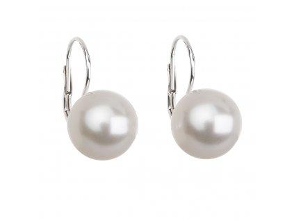 Stříbrné náušnice visací s perlou Swarovski bílé kulaté 31144.1