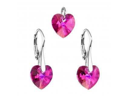 Sada šperků s krystaly Swarovski náušnice a přívěsek růžová srdce 39003.4