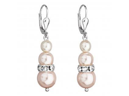 Stříbrné náušnice visací se syntetickými perlami a krystaly Swarovski růžové kulaté 31150.3