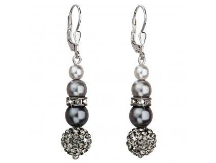 Stříbrné náušnice visací se syntetickými perlami a krystaly Swarovski šedé kulaté 31149.3
