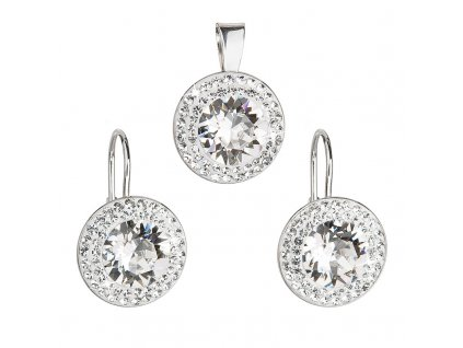 Sada šperků s krystaly Swarovski náušnice a přívěsek bílé kulaté 39107.1