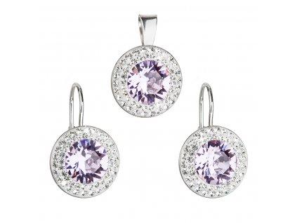 Sada šperků s krystaly Swarovski náušnice a přívěsek fialové kulaté 39107.3