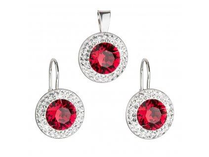 Sada šperků s krystaly Swarovski náušnice a přívěsek červené kulaté 39107.3