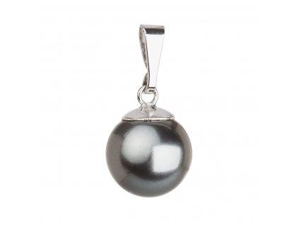 Stříbrný přívěsek s šedou Swarovski kulatou perlou 34150.3