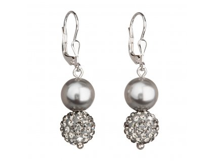 Stříbrné náušnice visací se syntetickými perlami a krystaly Swarovski šedé kulaté 31155.3