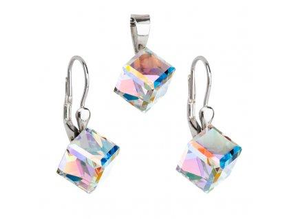 Sada šperků s krystaly Swarovski náušnice a přívěsek AB efekt kostička 39111.2