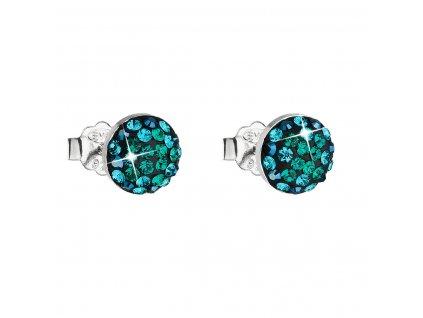 Stříbrné náušnice pecka s krystaly Swarovski zelené kulaté 31136.6
