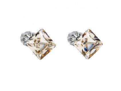 Stříbrné náušnice pecka s krystaly Swarovski hnědý čtverec 31065.3