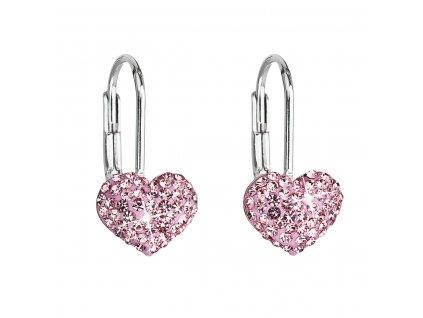 Stříbrné náušnice visací s krystaly Swarovski růžové srdce 31125.3