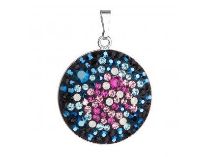 Stříbrný přívěsek s krystaly Swarovski mix barev modrá růžová kulatý 34131.4 galaxy