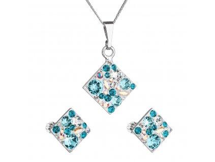 Sada šperků s krystaly Swarovski náušnice, řetízek a přívěsek modrý kosočtverec 39126.3 turquoise