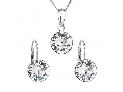 Sada šperků s krystaly Swarovski náušnice a přívěsek bílé kulaté 39140.1