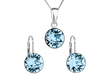 Sada šperků s krystaly Swarovski náušnice, řetízek a přívěsek modré kulaté 39140.3 aqua