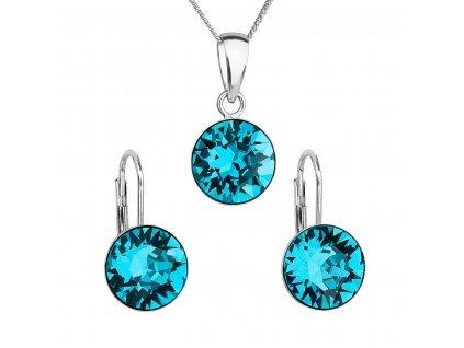 Sada šperků s krystaly Swarovski náušnice, řetízek a přívěsek modré kulaté 39140.3 blue zircon
