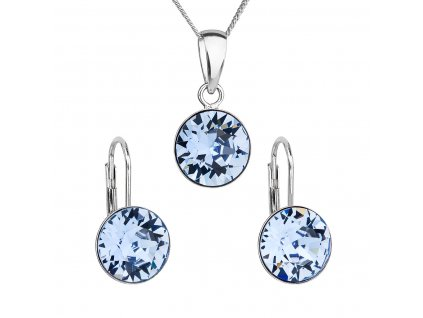 Sada šperků s krystaly Swarovski náušnice, řetízek a přívěsek modré kulaté 39140.3 sapphire