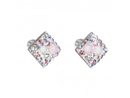 Stříbrné náušnice pecka s krystaly Swarovski růžový kosočtverec 31169.3