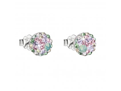 Stříbrné náušnice pecka s krystaly Swarovski mix barev kulaté 31136.3 sakura