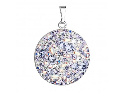 Stříbrný přívěsek s krystaly Swarovski fialový kulatý 34131.3 violet