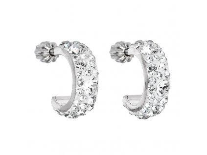 Stříbrné náušnice kruhy s krystaly Swarovski bílé půlkruh 31118.1 krystal
