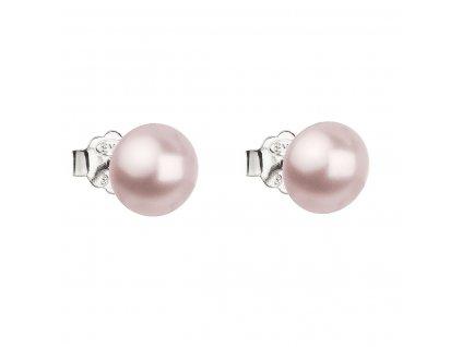 Stříbrné náušnice pecka s perlou Swarovski růžové kulaté 31142.3 rosaline