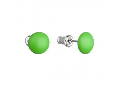 Náušnice bižuterie se Swarovski krystaly zelené kulaté 51053.3